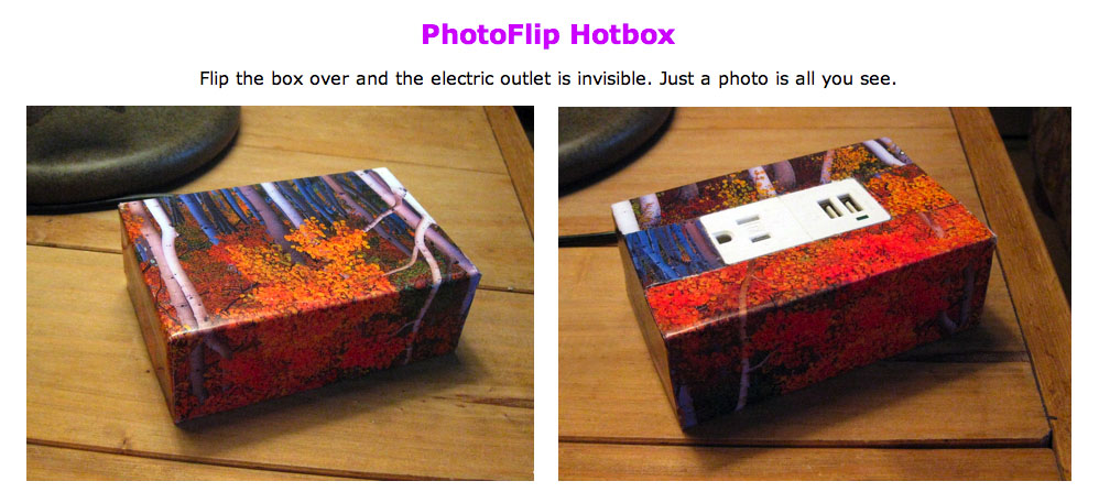 Photo Flip Hot Box for disguising electrical outlet and USB charger