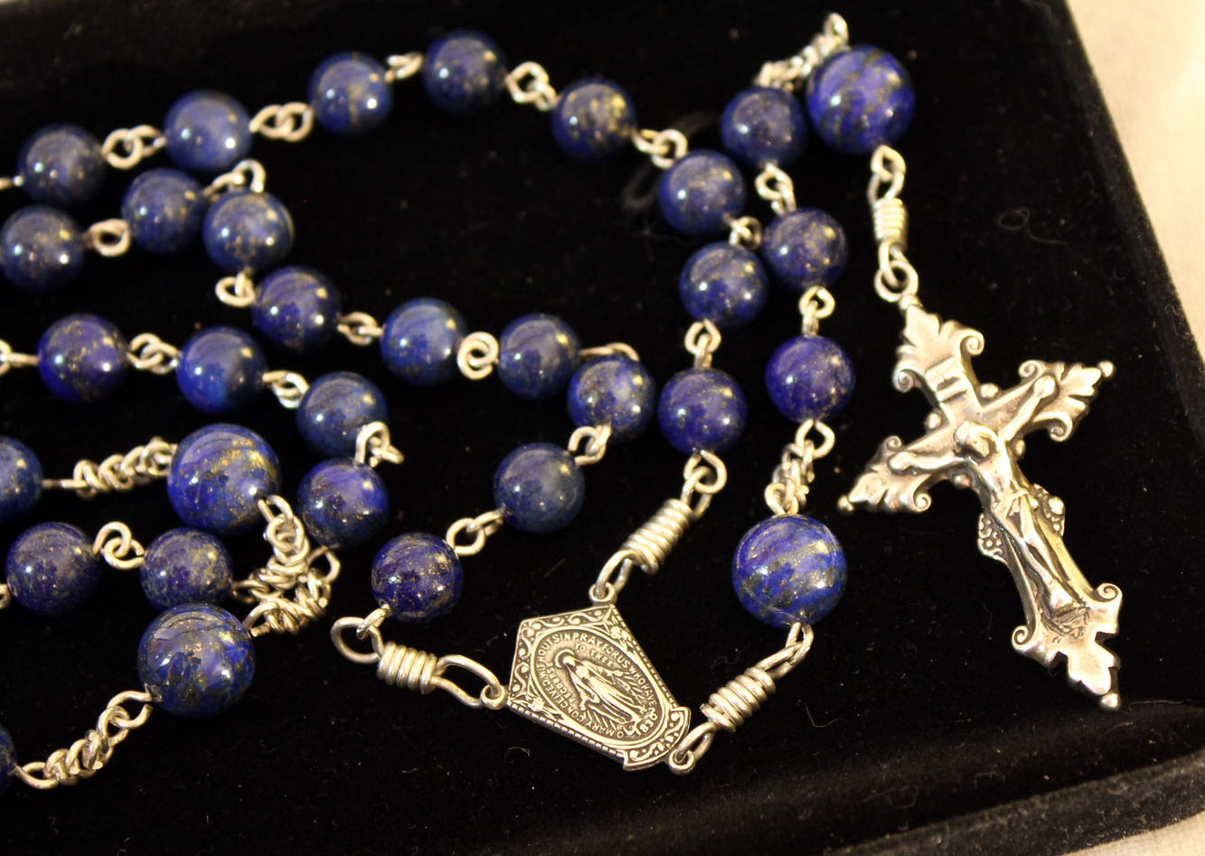 Lapis Lazuli Rosary, handmade sterling silver chain, bows and eyelets and hand cast sterling parts by Francis Koerber.