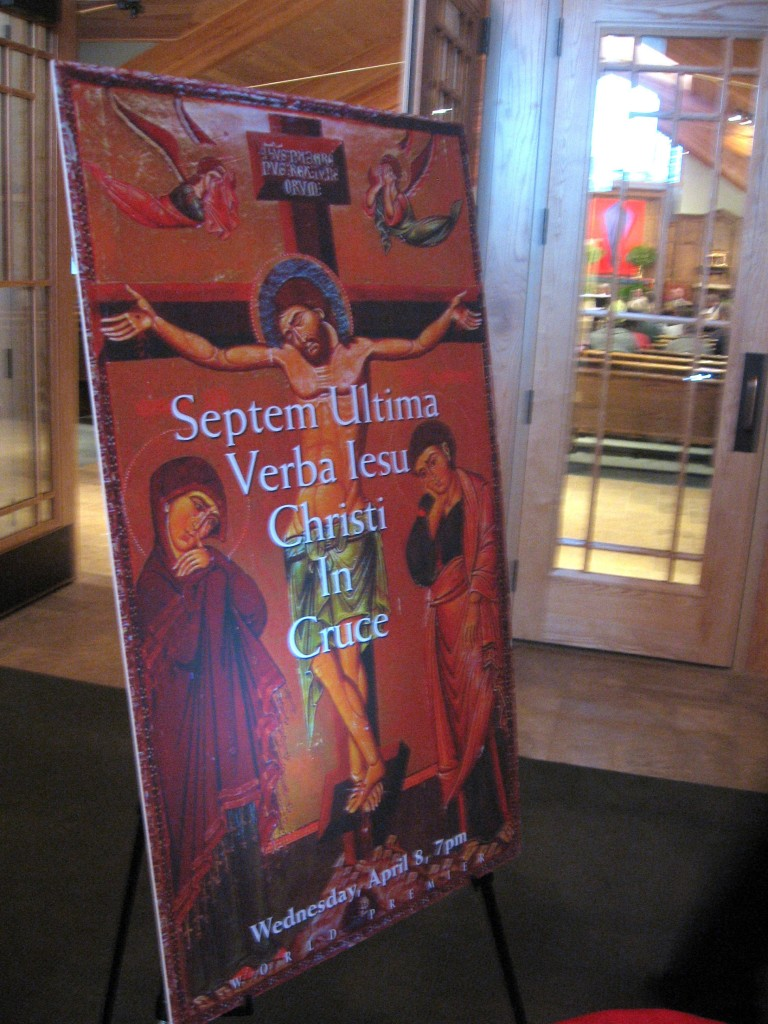 Lobby Sign for the premiere performance of Septum Ultima Iesu Christi In Cruce