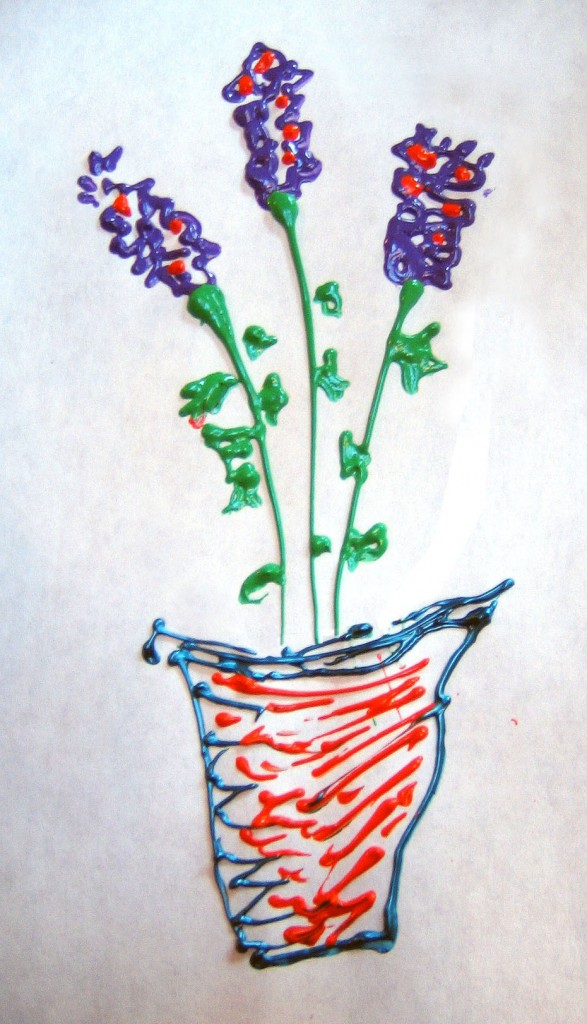 Plant : metallic paint on paper
